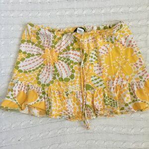 J. Crew Drawstring Yellow Floral Ruffle Skirt Sz S